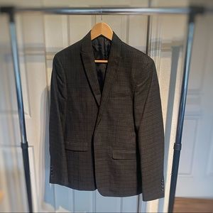 Bar III Men's Gray and Red Plaid Polyester Blazer